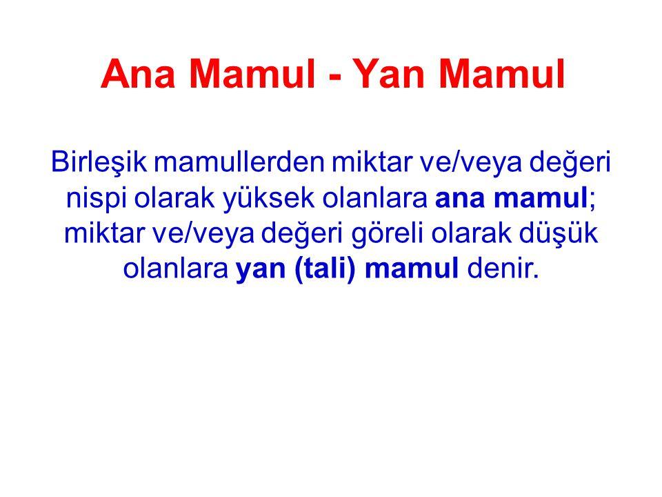 Ana Mamul - Yan Mamul Birleşik mamullerden miktar ve/veya değeri nispi olarak yüksek olanlara ana mamul; miktar ve/veya değeri göreli olarak düşük olanlara yan (tali) mamul denir.