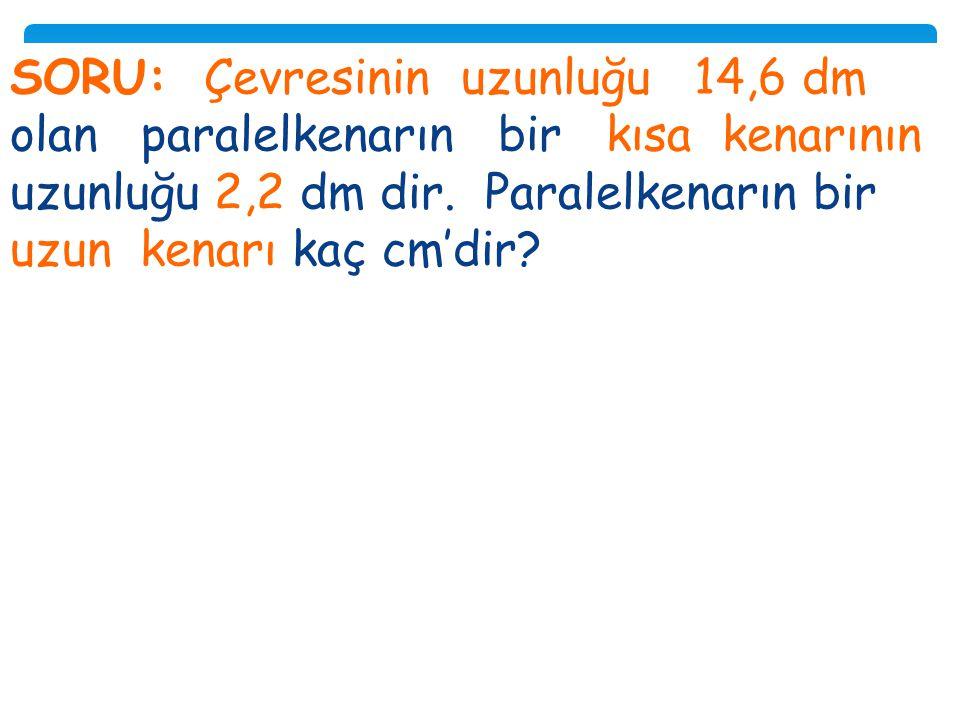 Soru: Şimdi Sıra Sizde! ha=43cm TÜ R K a=65cm. Yandaki paralelkenarın alanı kaç santimetrekaredir?