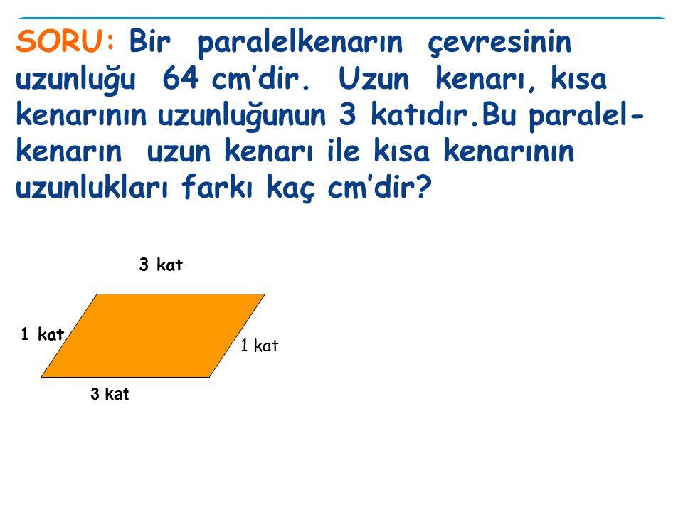 SORU: Çevresinin uzunluğu 14,6 dm olan paralelkenarın bir kısa kenarının uzunluğu 2,2 dm dir. Paralelkenarın bir uzun kenarı kaç cm'dir?