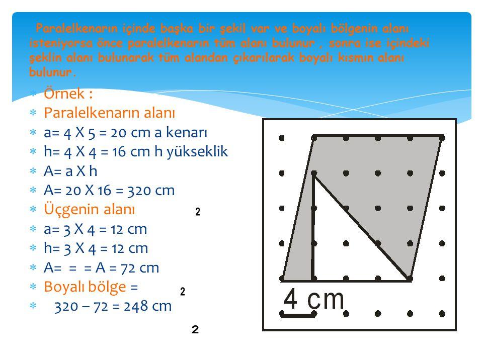 SORU: Şekildeki ABCD paralelkenarında boyalı alan 42 cm 'dir.