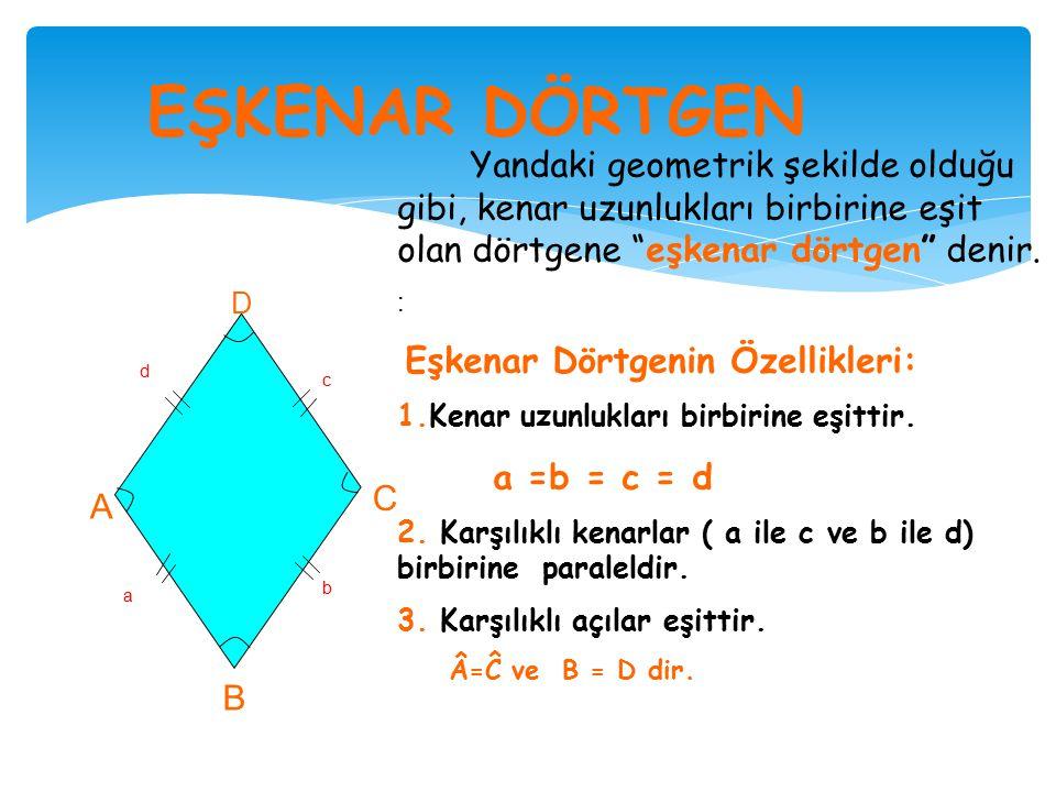  Örnek :  Paralelkenarın alanı  a= 4 X 5 = 20 cm a kenarı  h= 4 X 4 = 16 cm h yükseklik  A= a X h  A= 20 X 16 = 320 cm  Üçgenin alanı  a= 3 X 4 = 12 cm  h= 3 X 4 = 12 cm  A= = = A = 72 cm  Boyalı bölge =  320 – 72 = 248 cm Paralelkenarın içinde başka bir şekil var ve boyalı bölgenin alanı isteniyorsa önce paralelkenarın tüm alanı bulunur, sonra ise içindeki şeklin alanı bulunarak tüm alandan çıkarılarak boyalı kısmın alanı bulunur.
