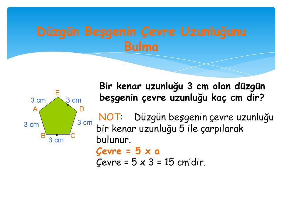 Kenar uzunlukları ve açılarının ölçüleri eşit olan çokgenlere, düzgün çokgen denir.
