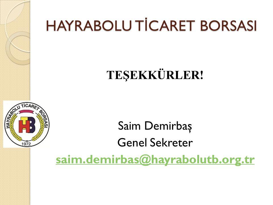 HAYRABOLU T İ CARET BORSASI TEŞEKKÜRLER! Saim Demirbaş Genel Sekreter saim.demirbas@hayrabolutb.org.tr
