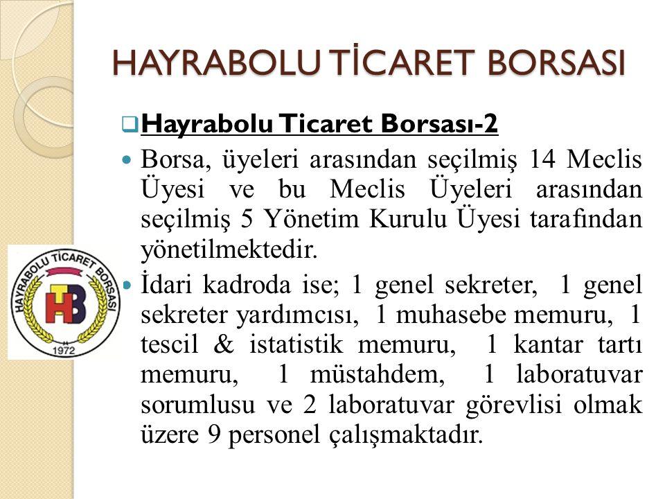 HAYRABOLU T İ CARET BORSASI  Hayrabolu Ticaret Borsası-2 Borsa, üyeleri arasından seçilmiş 14 Meclis Üyesi ve bu Meclis Üyeleri arasından seçilmiş 5