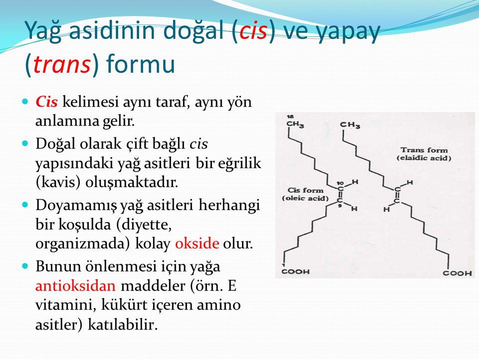 Yağlarda acılaşma Doymamış yağ asitlerinin çift bağlarının (-C=C-) havanın moleküler oksijeni (O2) ile reaksiyona girerek peroksit, enodil, epoksit, ketohidroksit gibi çeşitli gruplar açığa çıkar.