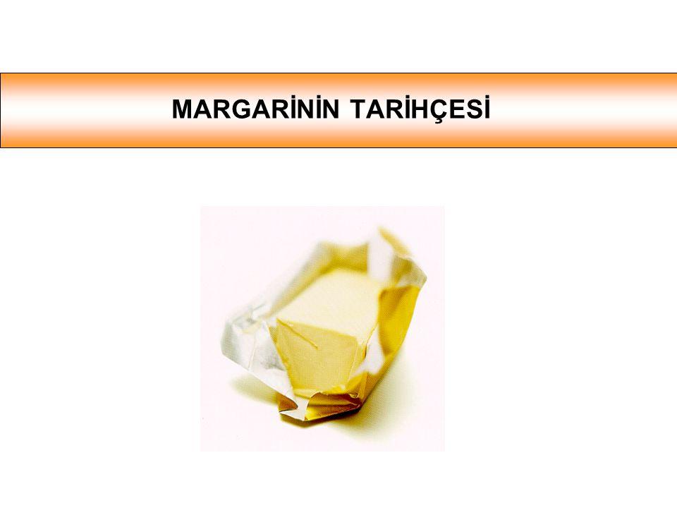 MARGARİN BİLEŞİMİ Yağı alınmış süt / su Potasyum sorbat Sitrik asid / laktik asid Tuz Bitkisel yağlar Vitaminler (A, D ve/veya E) Renklendirici (Beta karoten (A vitamini)) Doğala özdeş aromalar Doğal bağlayıcılar ( lesitin, mono- & di-gliserid) SU FAZI YAĞ FAZI