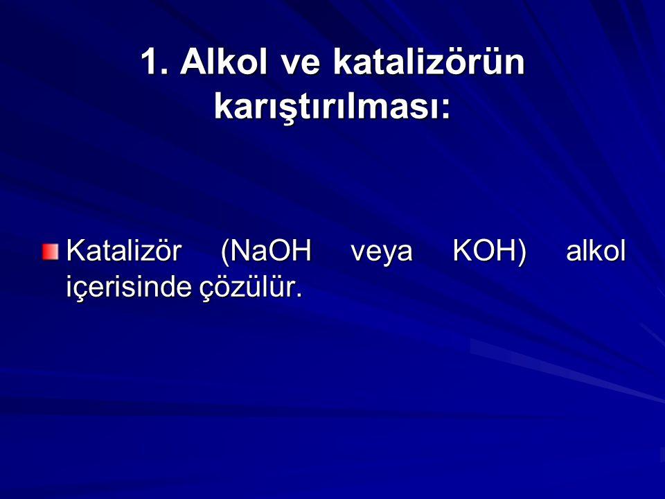 1. Alkol ve katalizörün karıştırılması: Katalizör (NaOH veya KOH) alkol içerisinde çözülür.