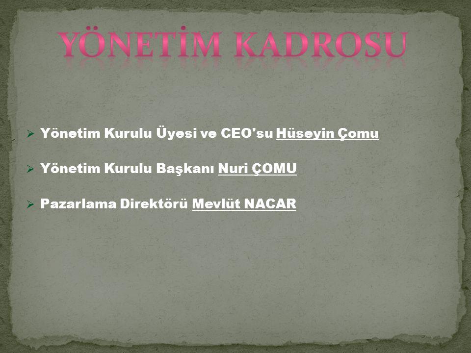  Yönetim Kurulu Üyesi ve CEO su Hüseyin Çomu  Yönetim Kurulu Başkanı Nuri ÇOMU  Pazarlama Direktörü Mevlüt NACAR