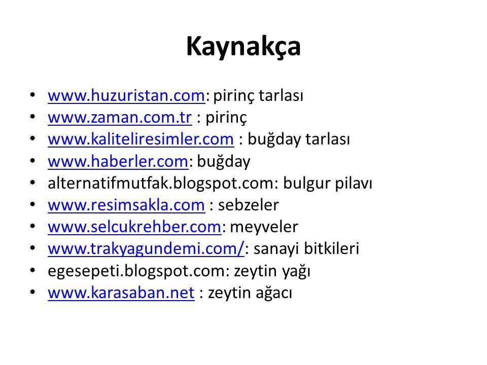 Kaynakça www.huzuristan.com: pirinç tarlası www.huzuristan.com www.zaman.com.tr : pirinç www.zaman.com.tr www.kaliteliresimler.com : buğday tarlası www.kaliteliresimler.com www.haberler.com: buğday www.haberler.com alternatifmutfak.blogspot.com: bulgur pilavı www.resimsakla.com : sebzeler www.resimsakla.com www.selcukrehber.com: meyveler www.selcukrehber.com www.trakyagundemi.com/: sanayi bitkileri www.trakyagundemi.com/ egesepeti.blogspot.com: zeytin yağı www.karasaban.net : zeytin ağacı www.karasaban.net
