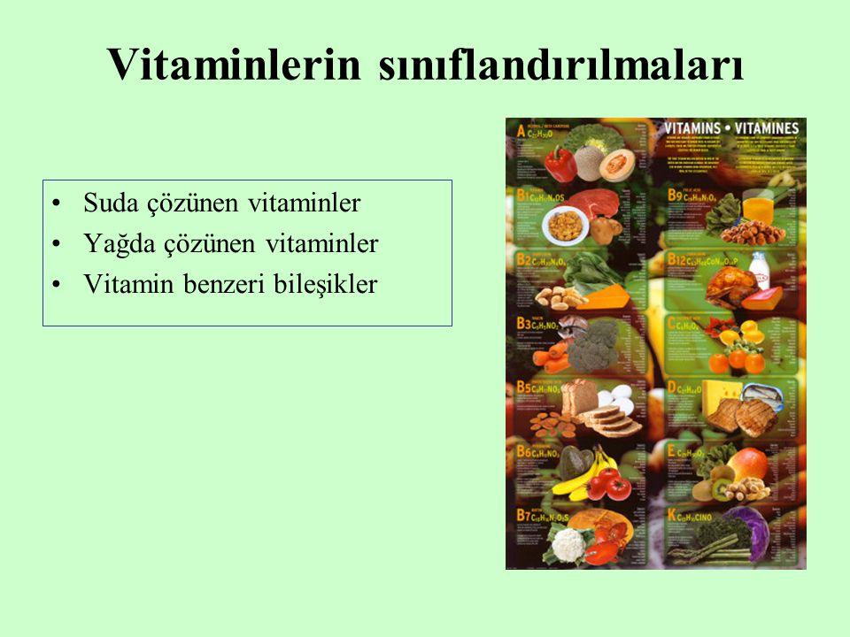 Vitaminlerin sınıflandırılmaları Suda çözünen vitaminler Yağda çözünen vitaminler Vitamin benzeri bileşikler