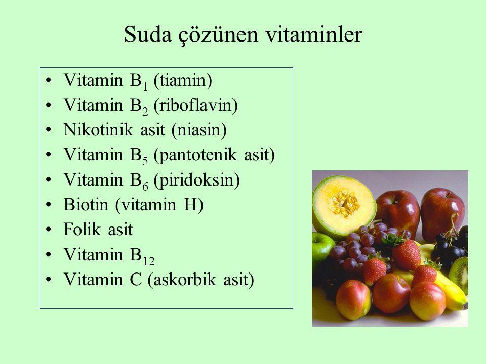 Suda çözünen vitaminler Vitamin B 1 (tiamin) Vitamin B 2 (riboflavin) Nikotinik asit (niasin) Vitamin B 5 (pantotenik asit) Vitamin B 6 (piridoksin) B