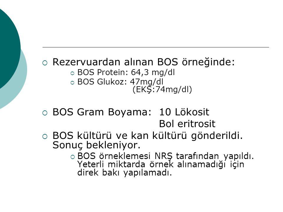  Rezervuardan alınan BOS örneğinde:  BOS Protein: 64,3 mg/dl  BOS Glukoz: 47mg/dl (EKŞ:74mg/dl)  BOS Gram Boyama: 10 Lökosit Bol eritrosit  BOS k