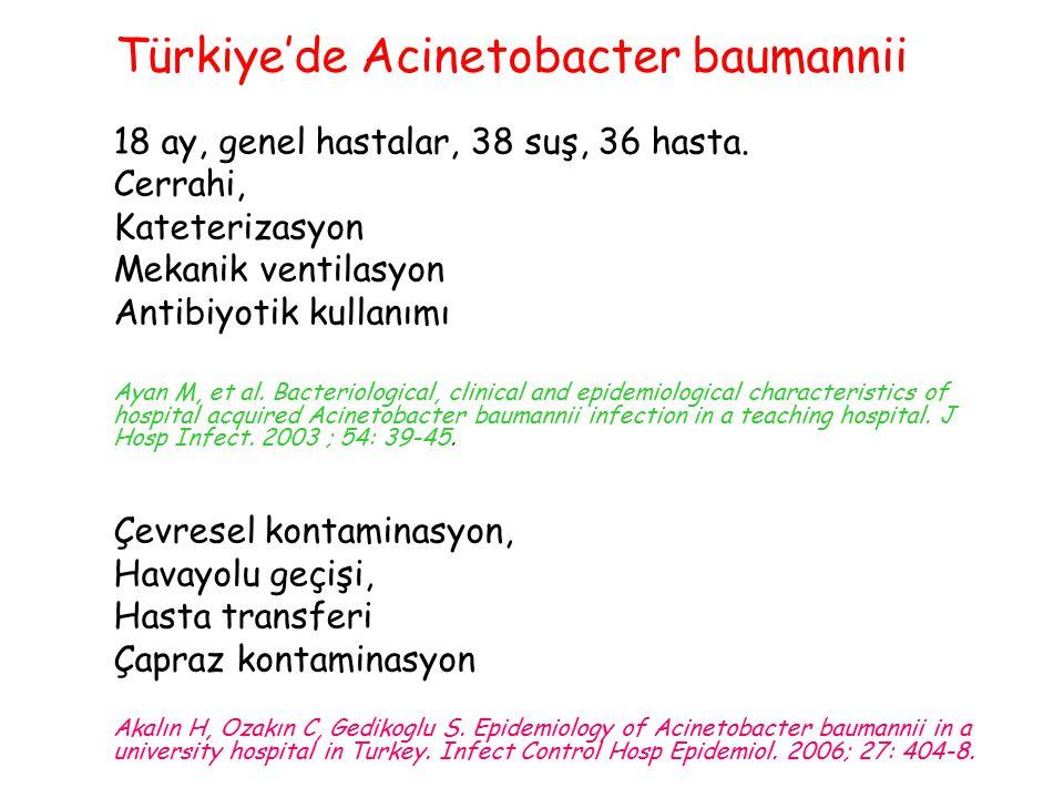 18 ay, genel hastalar, 38 suş, 36 hasta. Cerrahi, Kateterizasyon Mekanik ventilasyon Antibiyotik kullanımı Ayan M, et al. Bacteriological, clinical an