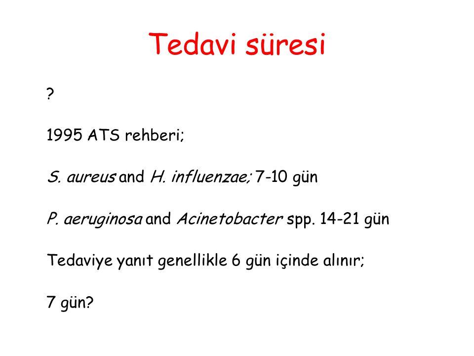 Tedavi süresi ? 1995 ATS rehberi; S. aureus and H. influenzae; 7-10 gün P. aeruginosa and Acinetobacter spp. 14-21 gün Tedaviye yanıt genellikle 6 gün
