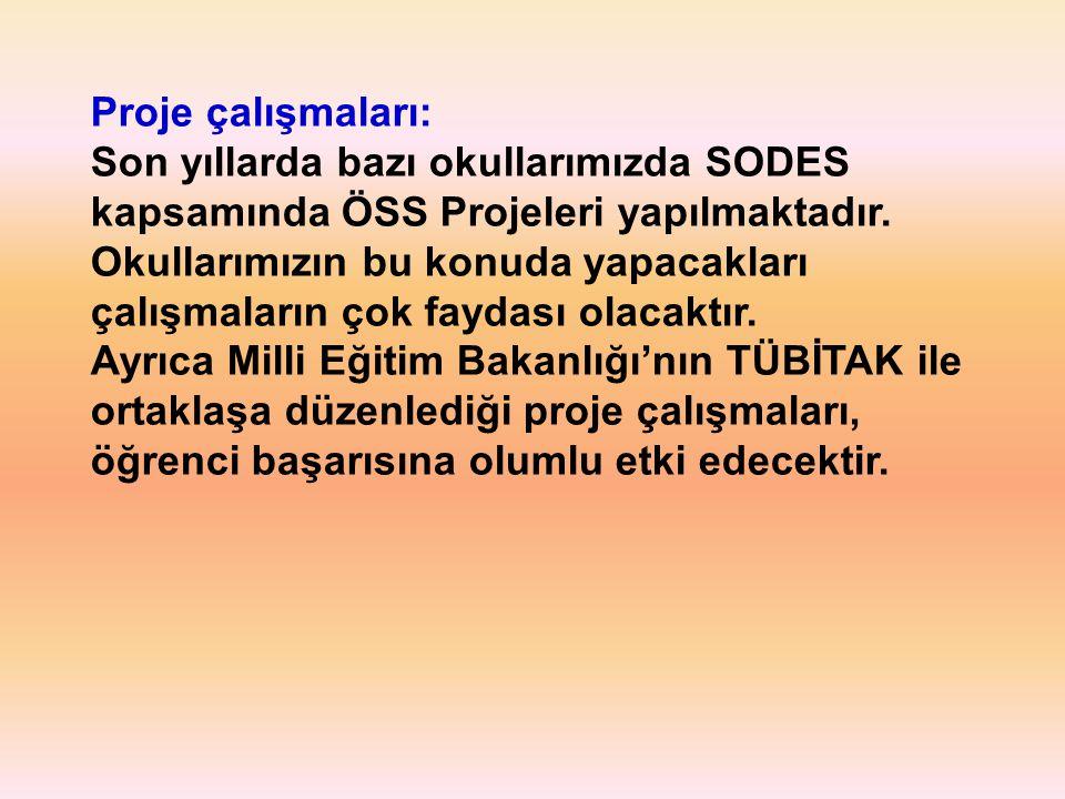 Proje çalışmaları: Son yıllarda bazı okullarımızda SODES kapsamında ÖSS Projeleri yapılmaktadır.