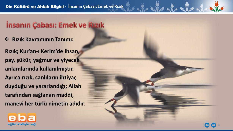 4 - İnsanın Çabası: Emek ve Rızık  Rızık Kavramının Tanımı: Rızık; Kur'an-ı Kerim'de ihsan, pay, şükür, yağmur ve yiyecek anlamlarında kullanılmıştır.