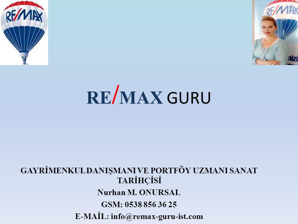 RE / MAX GURU GAYRİMENKUL DANIŞMANI VE PORTFÖY UZMANI SANAT TARİHÇİSİ Nurhan M. ONURSAL GSM: 0538 856 36 25 E-MAİL: info@remax-guru-ist.com