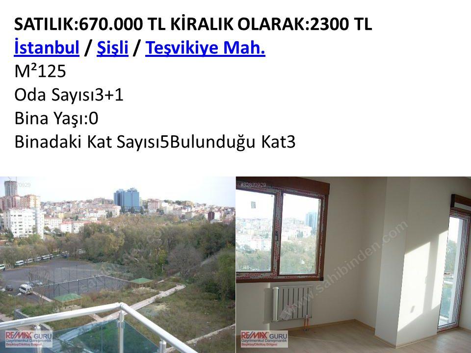SATILIK:670.000 TL KİRALIK OLARAK:2300 TL İstanbulİstanbul / Şişli / Teşvikiye Mah.ŞişliTeşvikiye Mah. M²125 Oda Sayısı3+1 Bina Yaşı:0 Binadaki Kat Sa