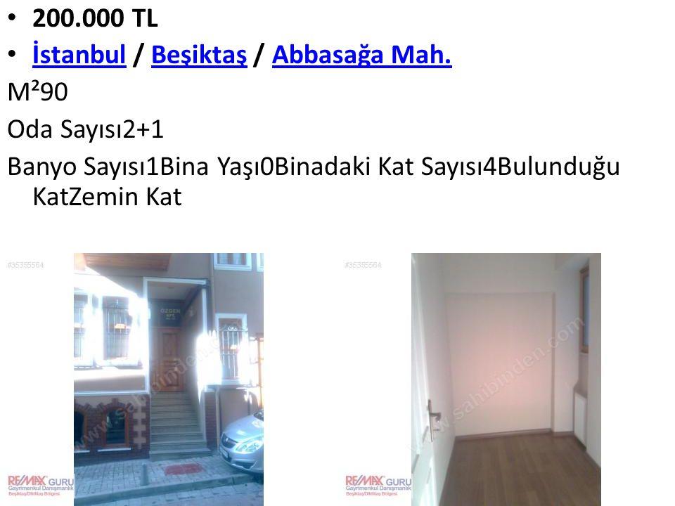 200.000 TL İstanbul / Beşiktaş / Abbasağa Mah. İstanbulBeşiktaşAbbasağa Mah. M²90 Oda Sayısı2+1 Banyo Sayısı1Bina Yaşı0Binadaki Kat Sayısı4Bulunduğu K