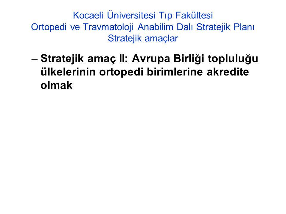 Kocaeli Üniversitesi Tıp Fakültesi Ortopedi ve Travmatoloji Anabilim Dalı Stratejik Planı Stratejik amaçlar –Stratejik amaç II: Avrupa Birliği toplulu