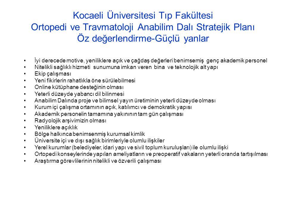 Kocaeli Üniversitesi Tıp Fakültesi Ortopedi ve Travmatoloji Anabilim Dalı Stratejik Planı Öz değerlendirme-Güçlü yanlar İyi derecede motive, yenilikle