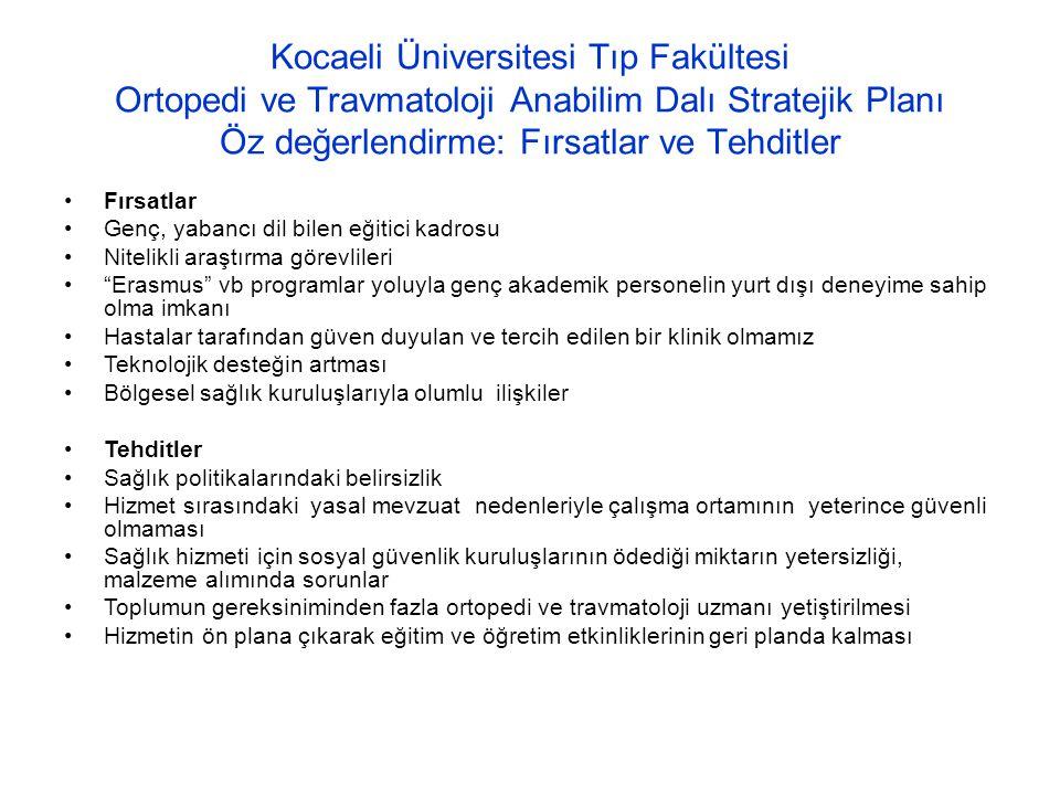 Kocaeli Üniversitesi Tıp Fakültesi Ortopedi ve Travmatoloji Anabilim Dalı Stratejik Planı Öz değerlendirme: Fırsatlar ve Tehditler Fırsatlar Genç, yab