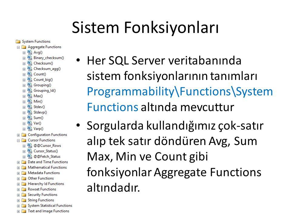 Sistem Fonksiyonları Her SQL Server veritabanında sistem fonksiyonlarının tanımları Programmability\Functions\System Functions altında mevcuttur Sorgu