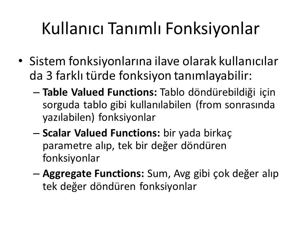 Kullanıcı Tanımlı Fonksiyonlar Sistem fonksiyonlarına ilave olarak kullanıcılar da 3 farklı türde fonksiyon tanımlayabilir: – Table Valued Functions:
