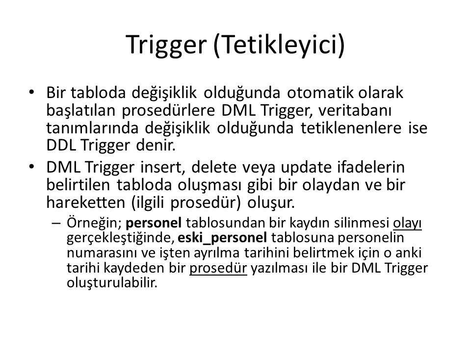 Trigger (Tetikleyici) Bir tabloda değişiklik olduğunda otomatik olarak başlatılan prosedürlere DML Trigger, veritabanı tanımlarında değişiklik olduğun