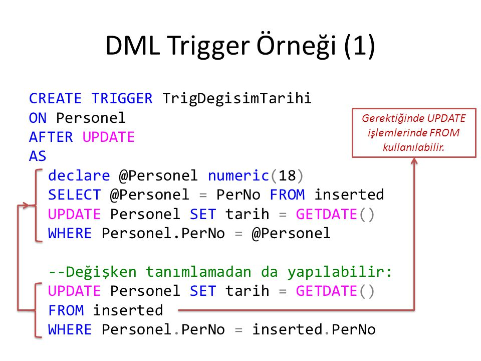 DML Trigger Örneği (1) CREATE TRIGGER TrigDegisimTarihi ON Personel AFTER UPDATE AS declare @Personel numeric(18) SELECT @Personel = PerNo FROM insert