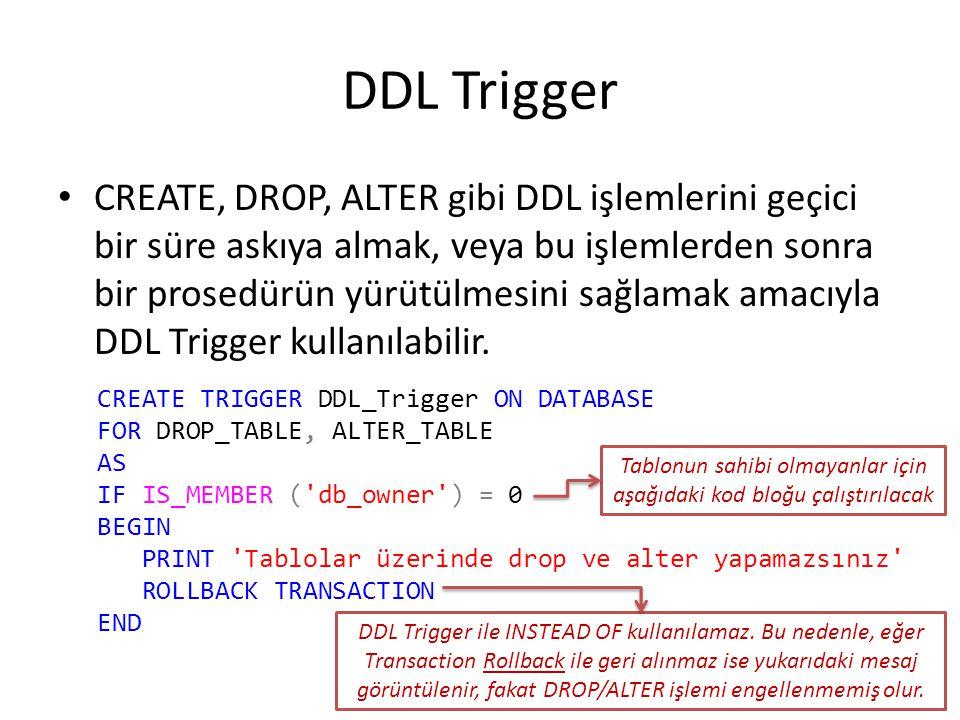 DDL Trigger CREATE, DROP, ALTER gibi DDL işlemlerini geçici bir süre askıya almak, veya bu işlemlerden sonra bir prosedürün yürütülmesini sağlamak ama