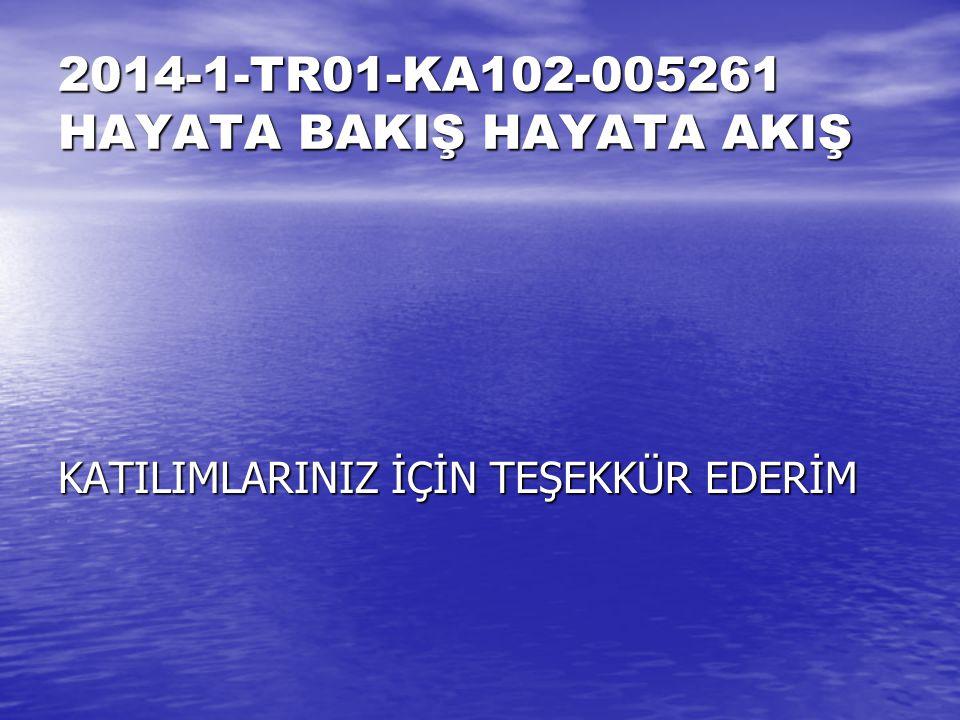 2014-1-TR01-KA102-005261 HAYATA BAKIŞ HAYATA AKIŞ KATILIMLARINIZ İÇİN TEŞEKKÜR EDERİM