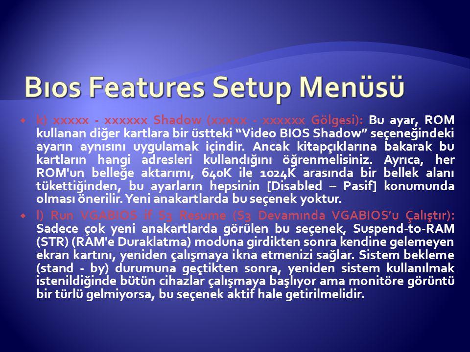 """ k) xxxxx - xxxxxx Shadow (xxxxx - xxxxxx Gölgesi): Bu ayar, ROM kullanan diğer kartlara bir üstteki """"Video BIOS Shadow"""" seçeneğindeki ayarın aynısın"""