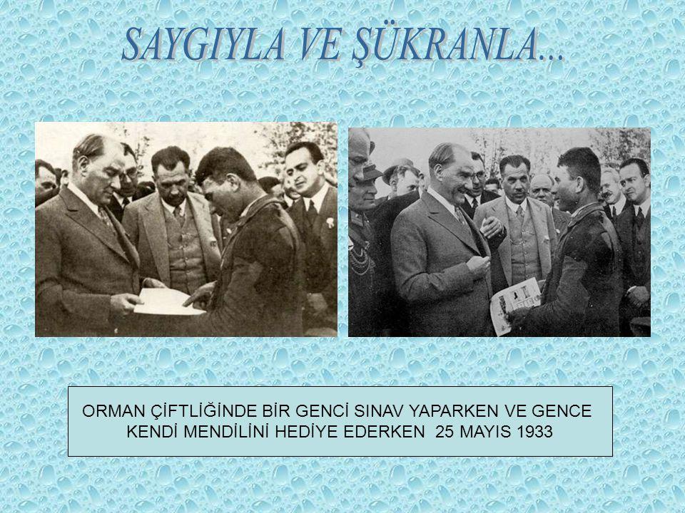 ORMAN ÇİFTLİĞİNDE BİR GENCİ SINAV YAPARKEN VE GENCE KENDİ MENDİLİNİ HEDİYE EDERKEN 25 MAYIS 1933