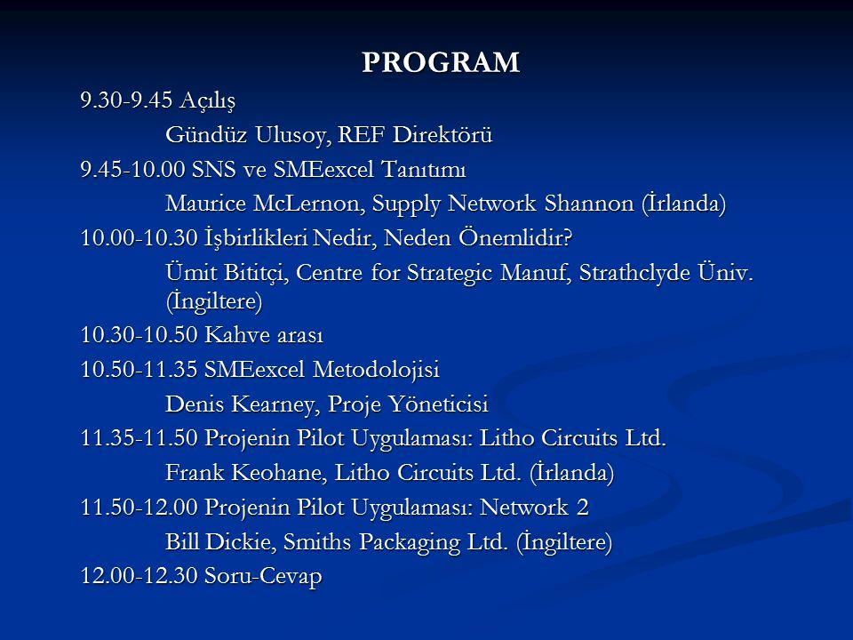 PROGRAM 9.30-9.45 Açılış Gündüz Ulusoy, REF Direktörü 9.45-10.00 SNS ve SMEexcel Tanıtımı Maurice McLernon, Supply Network Shannon (İrlanda) 10.00-10.30 İşbirlikleri Nedir, Neden Önemlidir.
