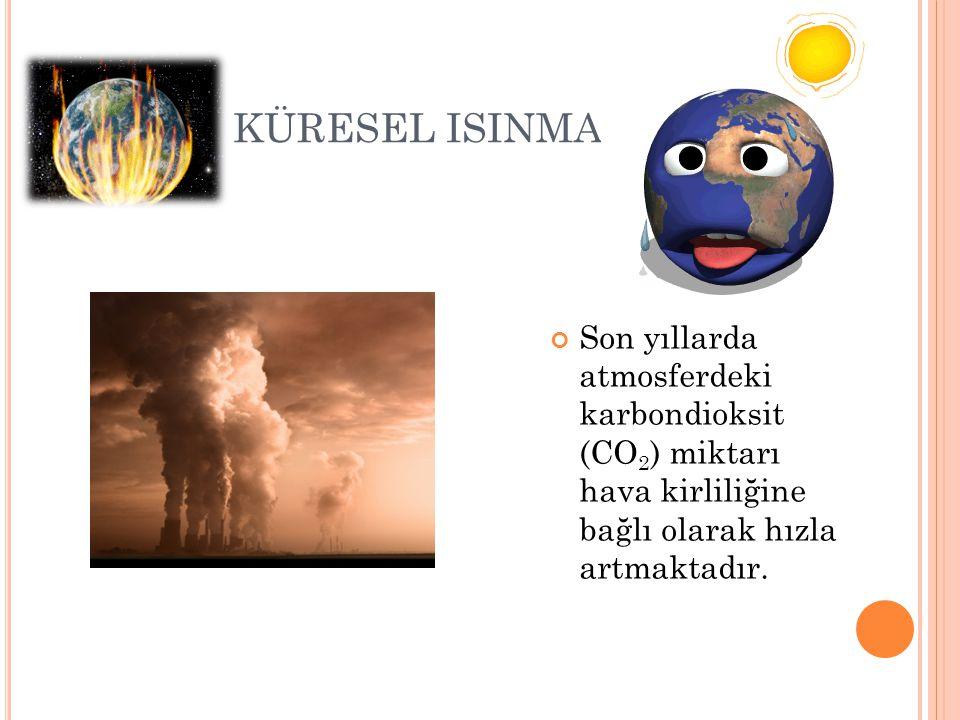 KÜRESEL ISINMA Son yıllarda atmosferdeki karbondioksit (CO 2 ) miktarı hava kirliliğine bağlı olarak hızla artmaktadır.