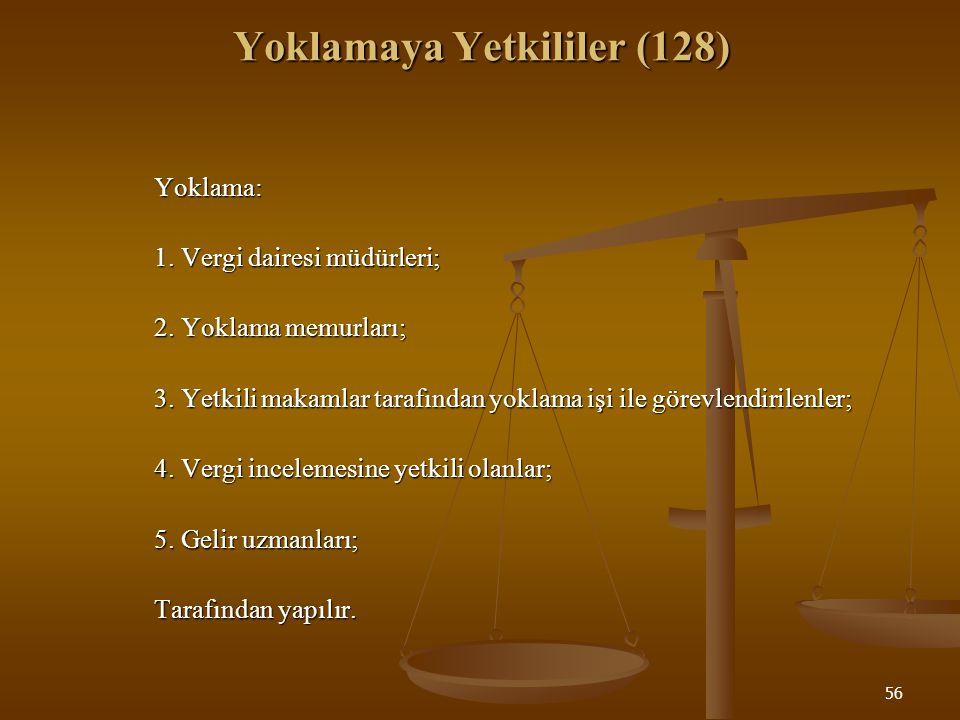 56 Yoklamaya Yetkililer (128) Yoklama: 1. Vergi dairesi müdürleri; 2. Yoklama memurları; 3. Yetkili makamlar tarafından yoklama işi ile görevlendirile