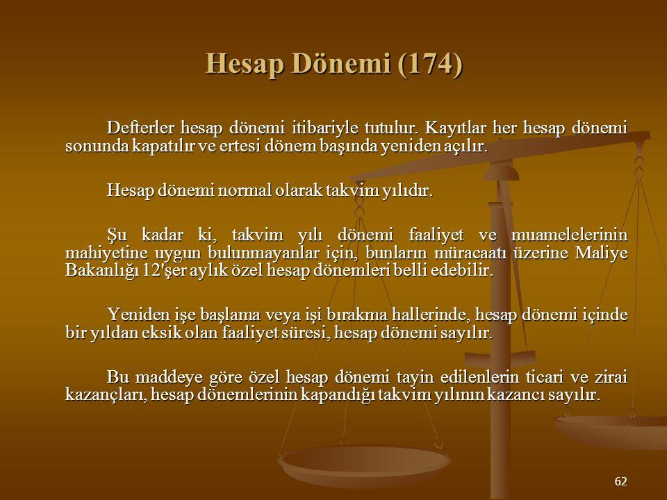 62 Hesap Dönemi (174) Defterler hesap dönemi itibariyle tutulur. Kayıtlar her hesap dönemi sonunda kapatılır ve ertesi dönem başında yeniden açılır. H