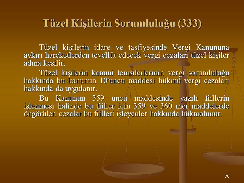70 Tüzel Kişilerin Sorumluluğu (333) Tüzel kişilerin idare ve tasfiyesinde Vergi Kanununa aykırı hareketlerden tevellüt edecek vergi cezaları tüzel ki