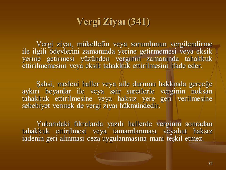 72 Vergi Ziyaı (341) Vergi ziyaı, mükellefin veya sorumlunun vergilendirme ile ilgili ödevlerini zamanında yerine getirmemesi veya eksik yerine getirm