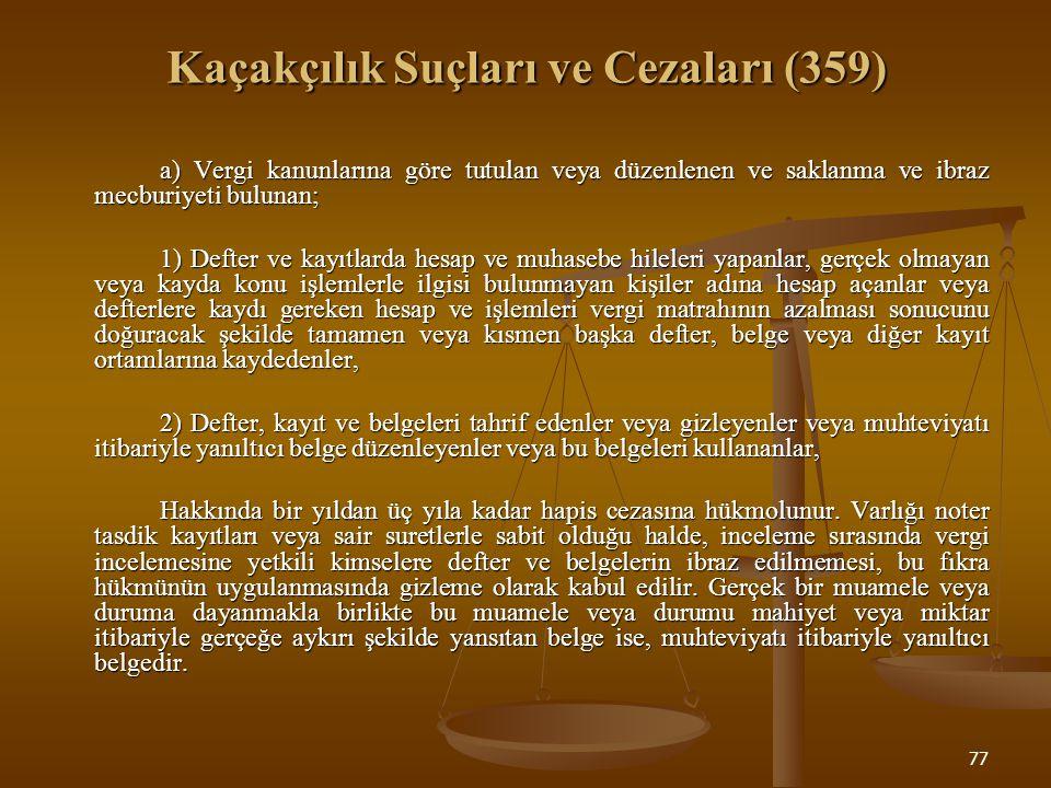 77 Kaçakçılık Suçları ve Cezaları (359) a) Vergi kanunlarına göre tutulan veya düzenlenen ve saklanma ve ibraz mecburiyeti bulunan; 1) Defter ve kayıt