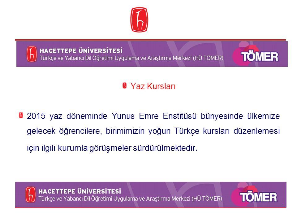 Yaz Kursları 2015 yaz döneminde Yunus Emre Enstitüsü bünyesinde ülkemize gelecek öğrencilere, birimimizin yoğun Türkçe kursları düzenlemesi için ilgil