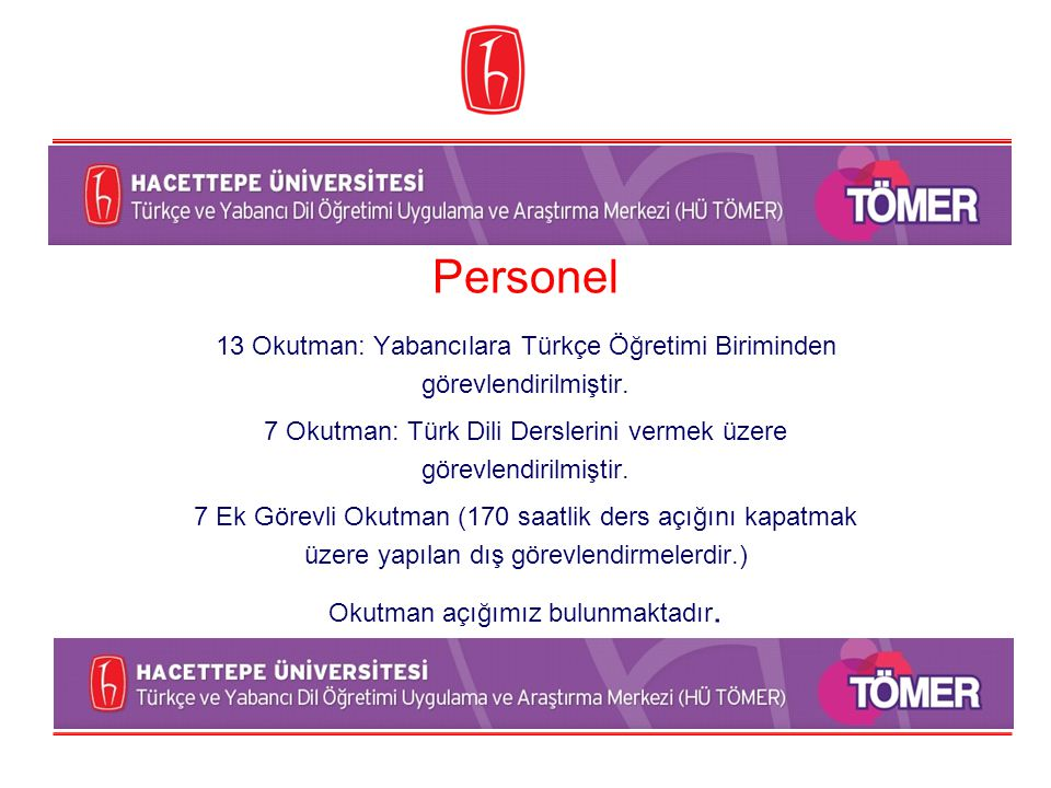 Personel 13 Okutman: Yabancılara Türkçe Öğretimi Biriminden görevlendirilmiştir. 7 Okutman: Türk Dili Derslerini vermek üzere görevlendirilmiştir. 7 E