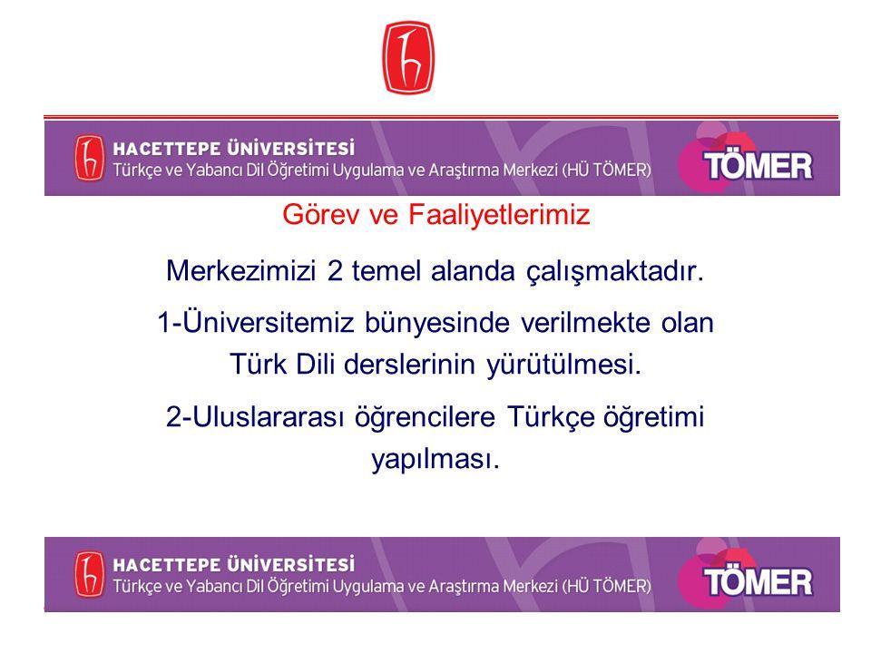 Görev ve Faaliyetlerimiz Merkezimizi 2 temel alanda çalışmaktadır. 1-Üniversitemiz bünyesinde verilmekte olan Türk Dili derslerinin yürütülmesi. 2-Ulu