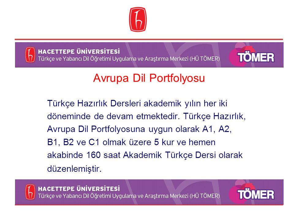 Avrupa Dil Portfolyosu Türkçe Hazırlık Dersleri akademik yılın her iki döneminde de devam etmektedir. Türkçe Hazırlık, Avrupa Dil Portfolyosuna uygun