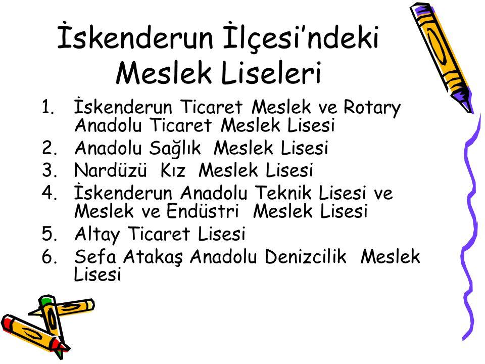İskenderun İlçesi'ndeki Meslek Liseleri 1.İskenderun Ticaret Meslek ve Rotary Anadolu Ticaret Meslek Lisesi 2.Anadolu Sağlık Meslek Lisesi 3.Nardüzü K