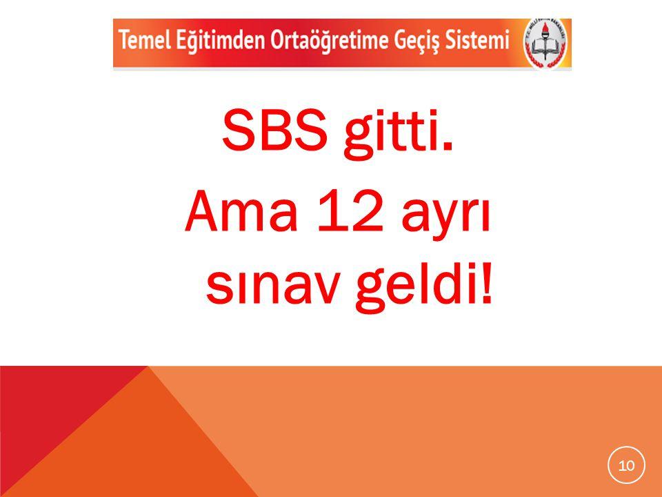 10 SBS gitti. Ama 12 ayrı sınav geldi!