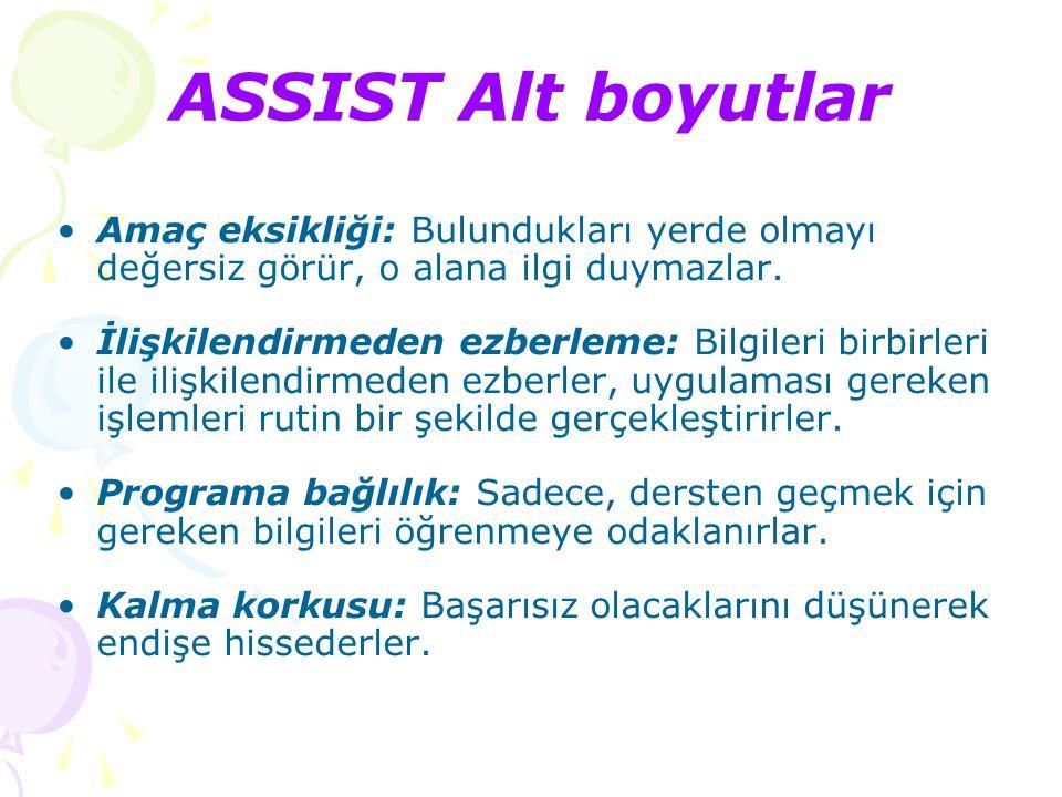 ASSIST Alt boyutlar Çalışmayı düzenleme: Çalışma ile ilgili sürekli bir çaba gösterirler.