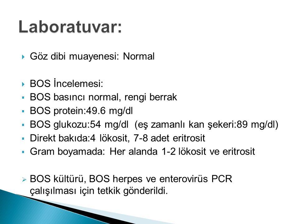  Göz dibi muayenesi: Normal  BOS İncelemesi:  BOS basıncı normal, rengi berrak  BOS protein:49.6 mg/dl  BOS glukozu:54 mg/dl (eş zamanlı kan şekeri:89 mg/dl)  Direkt bakıda:4 lökosit, 7-8 adet eritrosit  Gram boyamada: Her alanda 1-2 lökosit ve eritrosit  BOS kültürü, BOS herpes ve enterovirüs PCR çalışılması için tetkik gönderildi.