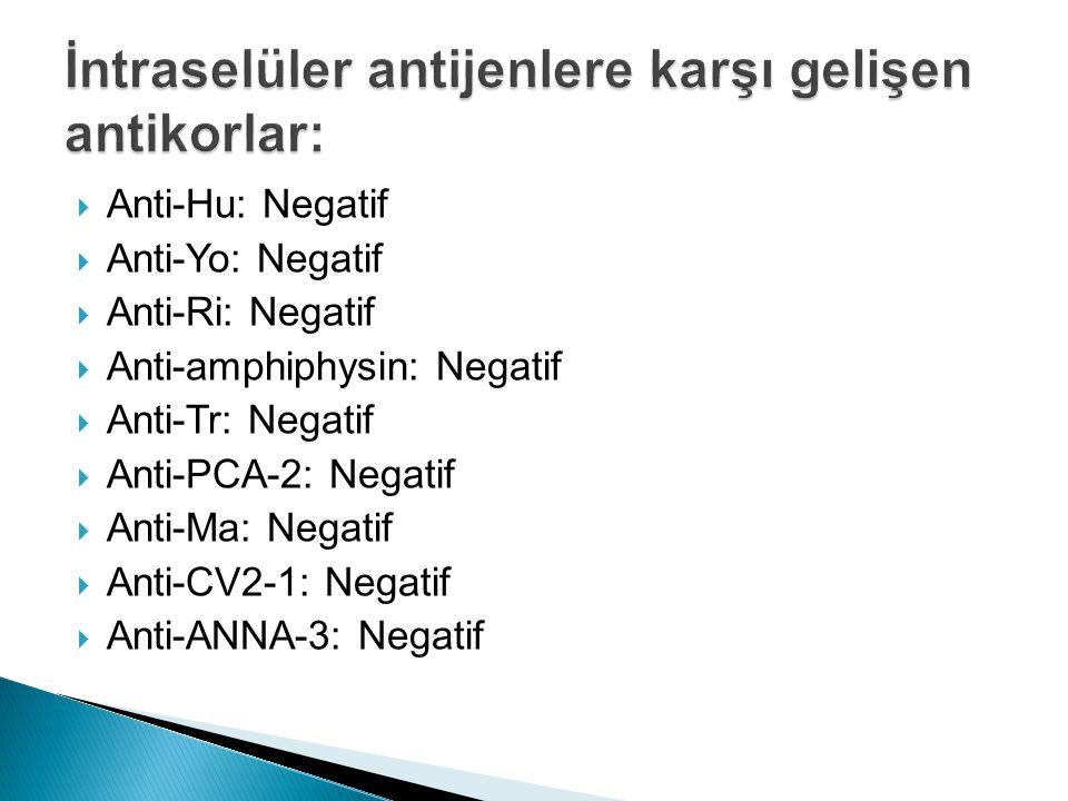  Anti-Hu: Negatif  Anti-Yo: Negatif  Anti-Ri: Negatif  Anti-amphiphysin: Negatif  Anti-Tr: Negatif  Anti-PCA-2: Negatif  Anti-Ma: Negatif  Anti-CV2-1: Negatif  Anti-ANNA-3: Negatif